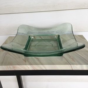 Vintage Clear Green Glass Thick Heavy Plate
